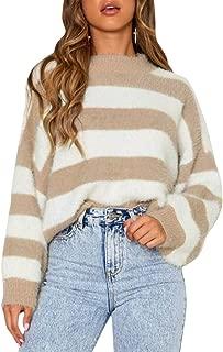 Zandiceno Women's Oversized Striped Crop Knit Sweater Colorblock O Neck Lantern Sleeve Cute Pullover Jumper