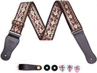 Guitar Strap with Embroidered Spark Sequin Soft Cotton & Genuine Leather Ends & Guitar Strap Lock and Button Headstock Adaptor For Stage Performance Electric Bass Acoustic Guitar (golden)