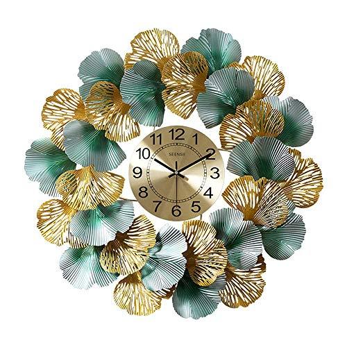 ZHENAO Reloj de Pared Ilustraciones Pared Del Metal Arte de la Pared, Hierro Forjado Hoja Del Ginkgo Decoraciones de Cuarzo Mudo Precisión Relojes Decoración Del Hogar 25,9 Pulgadas