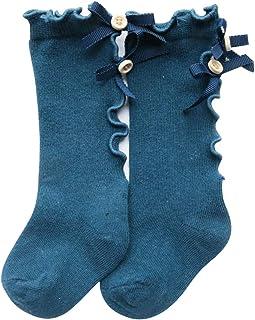 Ssowun, Calcetines Altos de algodón con Lazo para niña