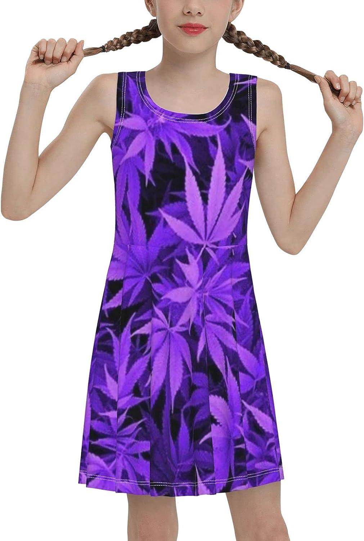 Marijuana Weed Leaf Sleeveless Dress for Girls Casual Printed Lightweight Skirt