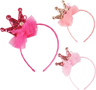 Candygirl Sequin Sparkling Tiara Crown Girls Headbands Party Favor Headbands Birthday Girl Princess Sequin Hairbands (3 pcs Headbands)