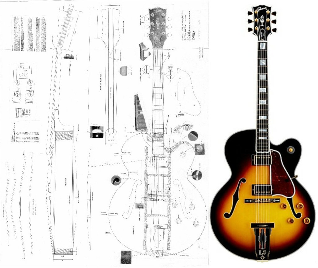Cheap Gibson L-5 CES Archtop Electric Guitar Plans - Full Scale Design Drawings Plans - Actual Size Black Friday & Cyber Monday 2019