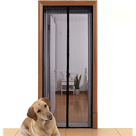 White Taylor /& Brown Magnetic Fly Insect Screen Door Screen Polyester Mesh Curtain Auto Snap Closure Fits Door Up to 90 x 210cm