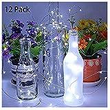Kingko   12 PC 20 LEDs Flaschen-Licht,Flaschenlichter Lichterketten Nacht Licht Weinflasche Flaschenlicht Kork Flaschen Licht LED Lichterkette Flaschen DIY (White)