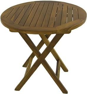 Mesa de jardín Auxiliar de Madera Teca | Redonda | Madera Teca Grado A | Tamaño: 50x50 cm | Tratamiento al Agua aplicado | Portes Gratis
