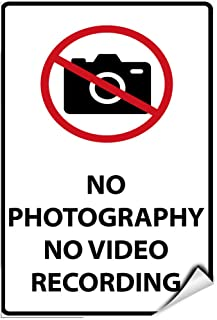 No Photography No Video Recording Security Sign Label Decal Sticker 5 inches x 7 inches