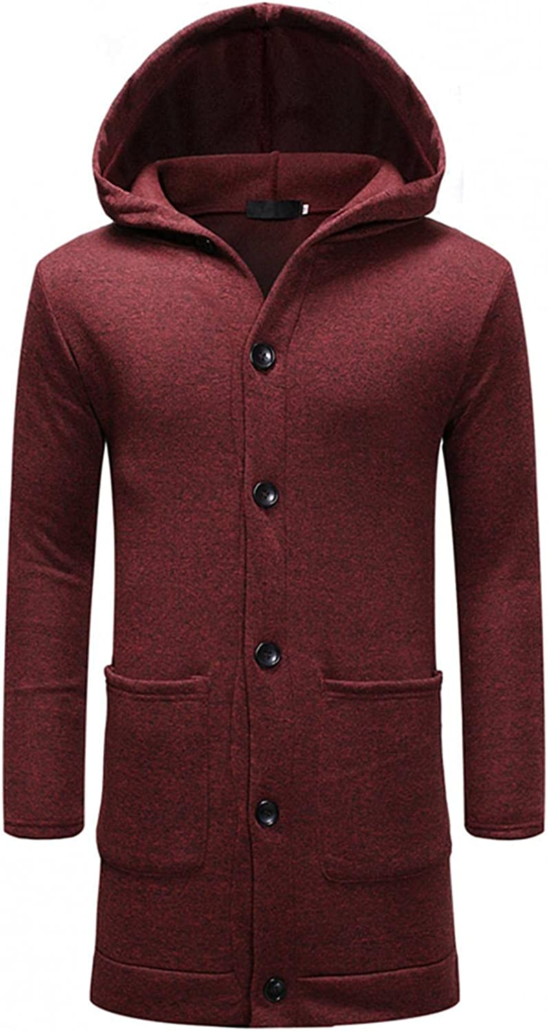 Mens Hooded Cardigan Coat Long Sleeve Button Down Hoodies Overcoats Thicken Thermal Windproof Outwear with Big Pockets
