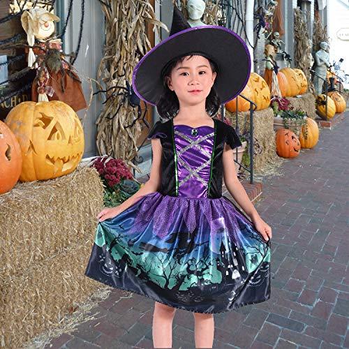 NSSONBEN Disfraz de bruja para niña/niños, color violeta, disfraz con sombrero para Halloween, Navidad, fiesta de Halloween, carnaval, disfraz de 3 – 4 años