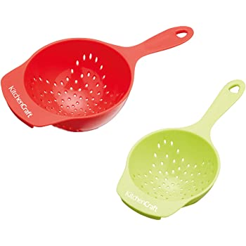 KitchenCraft Healthy Eating Plastic Mini Colander Set - Red/ Green (Pack of 2)
