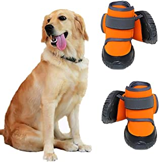 WELBLQ Scarpe per Animali Domestici Cani di Taglia Grande Non Cadono dal Piede Scarpe per Cani a Maglie Larghe Scarpe per Cani morbide e Confortevoli-ArmyGreen-7#
