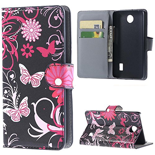 Leather Case for Huawei Y635,PU Leather Wallet Stand Case Cover for Huawei Ascend Y635 Flip Folio Cover Protector Shell with Credit ID Card/Money Slots-Butterfly 02