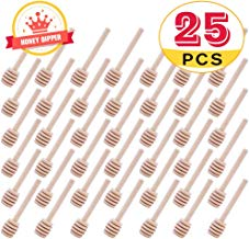 Mini Wooden Honey Dipper Sticks 3 Inch CCCSEE, Individually Wrapped, Honey Jar Dispense Drizzle Honey Wedding Party (25)