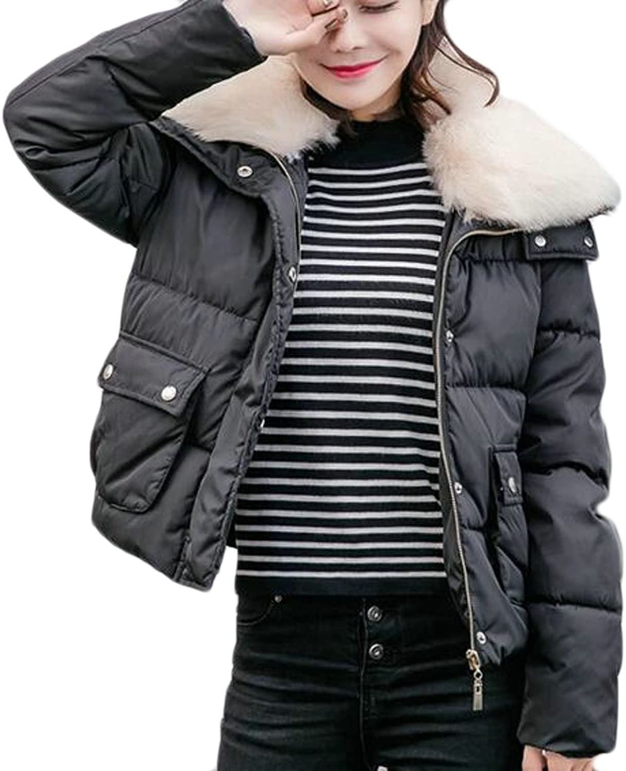 HTOOHTOOH Women's Thickened Down Jacket Warm Faux Fur Collar Winter Short Quilted Coat