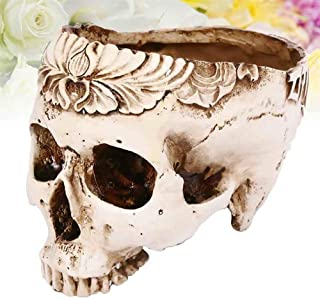 Skull Ashtray, Candy Bowl, Flower Pot, Resin Human Skull Ashtray Flower Pot Home Ornaments Scary Halloween Decorations Bar...