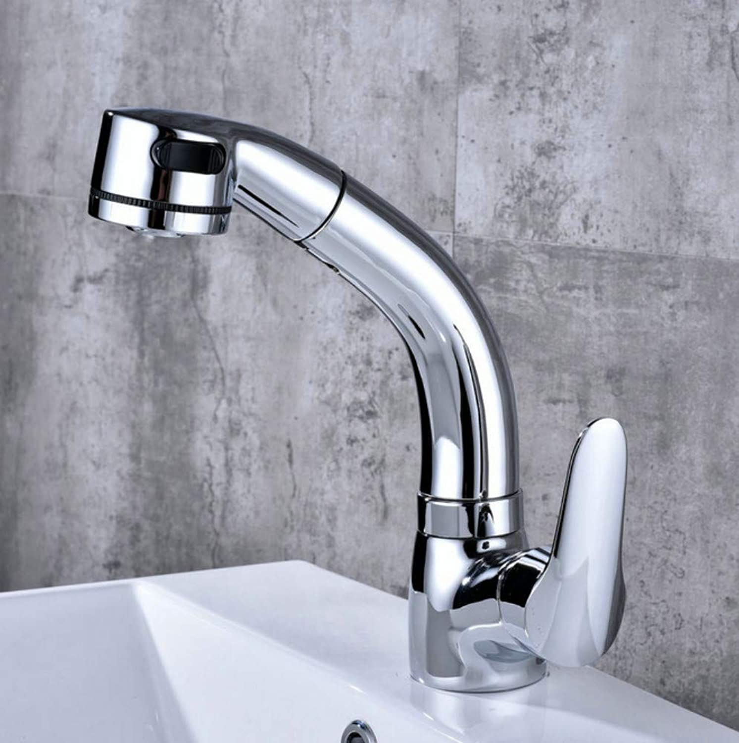 Xiujie Faucet Hot and Cold Mixed Bathroom Washbasin Faucet Button Adjusts The Water Form to Pull The Pull-Out Faucet