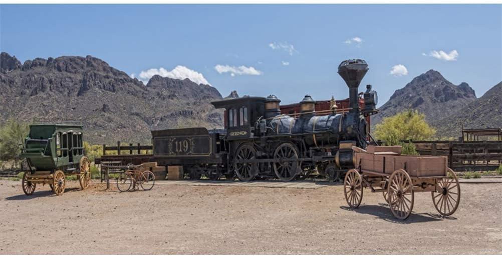 GoEoo Wild West Theme 20x10ft Vinyl Photography Background Antique Steam Train Wagon Bicycle Cart Scenic Backdrop Child Adult Cowboy Portrait Shoot Indoor Decors Wallpaper Studio Props