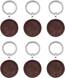 Tiparts 12 Pcs Wooden Keychain Trays Kit Cabochon Pendant Blanks with Keyrings (Inner Diameter:30mm, Wooden)