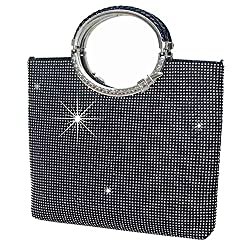 Black (big Size) Triangle  Full Rhinestones Clutch Bag
