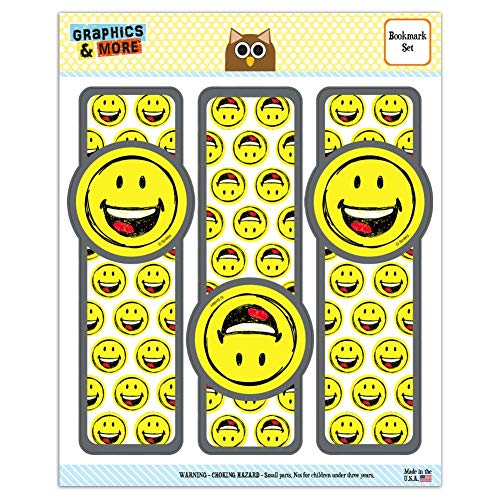 Smiley Smile Happy Sketchy Mouth Tongue Yellow Face Set of 3 Glossy Laminated Bookmarks