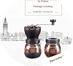 Hand Manual Coffee Grinder Mill For Home Office Ceramic Millstone With 2 Glass Sealed Pots Portable Coffee Mill Easy Cleaning,Coffee Mill Black