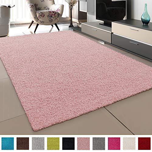 SANAT Teppich Wohnzimmer - Hellrosa Hochflor Langflor Teppiche Modern, Größe: 120x170 cm