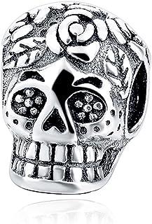 Kustom Factory - Charm a forma di teschio messicano, in argento, per Pandora