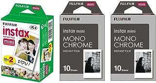 Fujifilm Instax Mini Instant Film 3-PACK BUNDLE SET , Twin Pack ( 20 ) + 2-SET Monochrome ( 20 ) + Original Cleaning Cloth + Stickers 20 pcs. for Mini 90 8 70 7s 50s 25 300 Camera SP-1 Printer