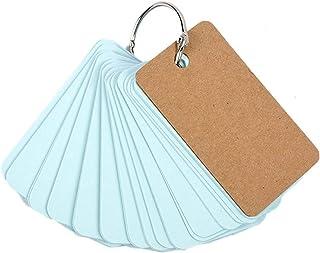Elonglin 5 Sets of Multicolor Study Cards Memorandum Note Pads Memory Word Cards with Metal Binder Ring Light Blue