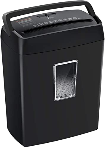 Bonsaii 6-Sheet Cross-Cut Paper Shredder, Shredders for Small Office & Home Use,4-Minute Continuous Running Time, 3.4...