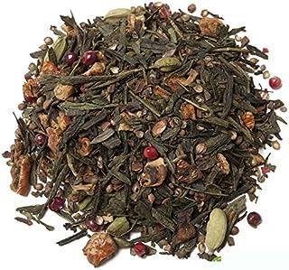 Aromas de Té - Té Verde Arcoiris - Elaborado con Ingredientes Naturales - Con Cardamomo, Canela, Trozos de Manzana, Rodajas de Naranja, Cilantro, Clavo y Pimienta Rosa -50 gr