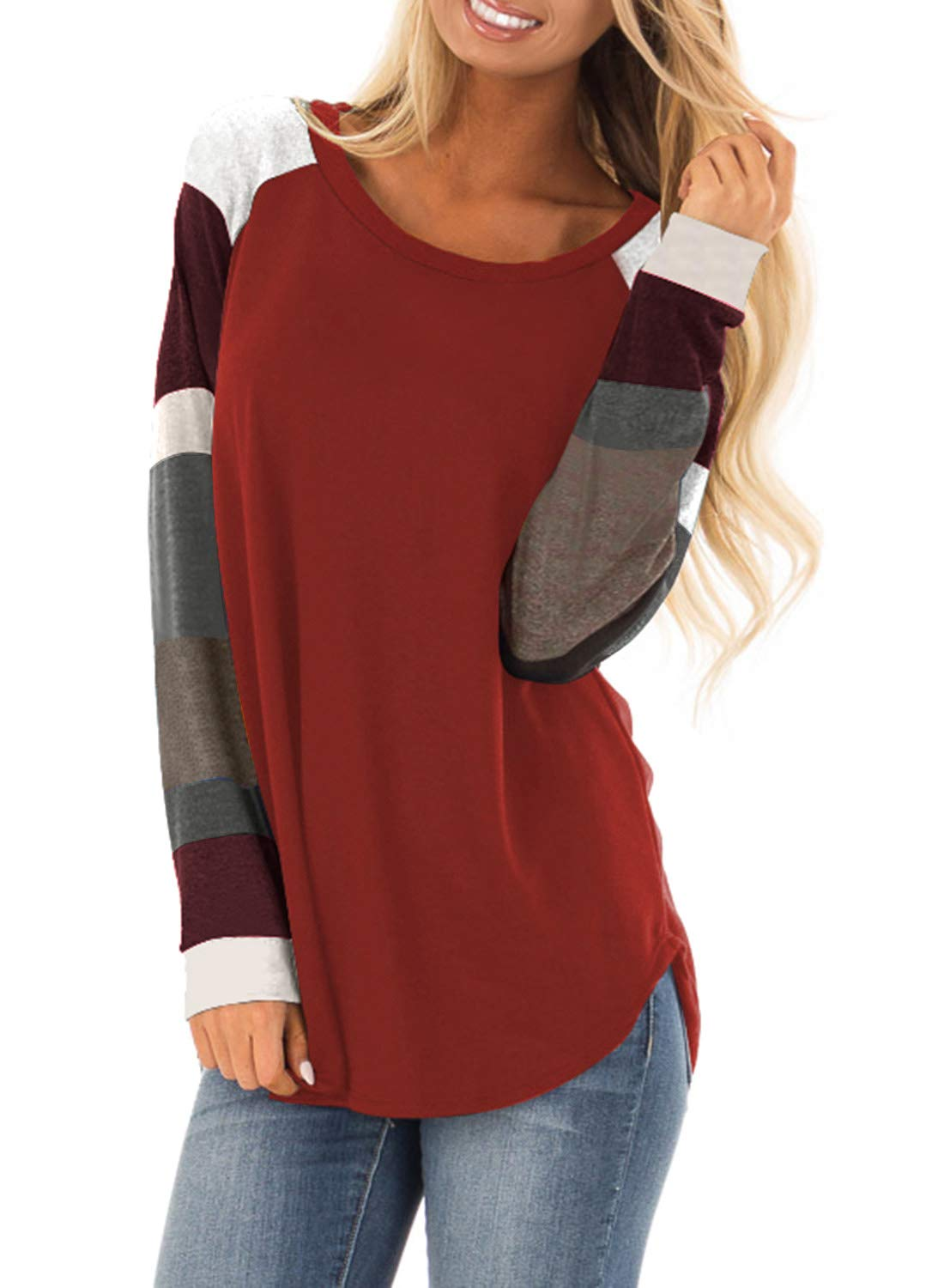 Plus Size Clothing - Women's Lightweight Color Block Long Sleeve Loose Fit Tunics Shirts Tops