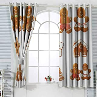 hengshu Gingerbread Man Sliding Door Curtains for Living Room Vivid Cute Christmas Gingerbread Biscuits Set Snowflake House Tree Room Darkening Curtains Room Decor W52 x L45 Inch Light Brown White