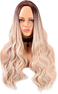 24 Inch Long Curly Wavy Wigs for Women - Ombre Ash Blonde Hair Wig Long Wavy Middle Part Synthetic Full Wig with Free Wig Cap by fani