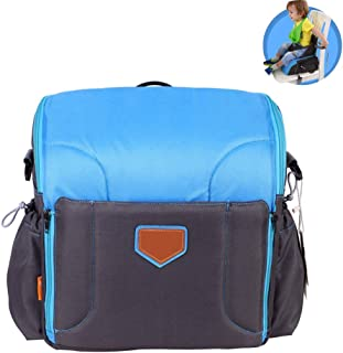 Travel Booster Seat,Feeding Booster Mommy Bag Foldable Large Capacity As High Chair for Babies Toddlers for Journeys,Blue