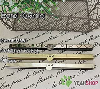 3PCS 19cm / 7.5 inch Straight Channel Diva Purse Frame Wallet Clasp - Round Opening (Silver)