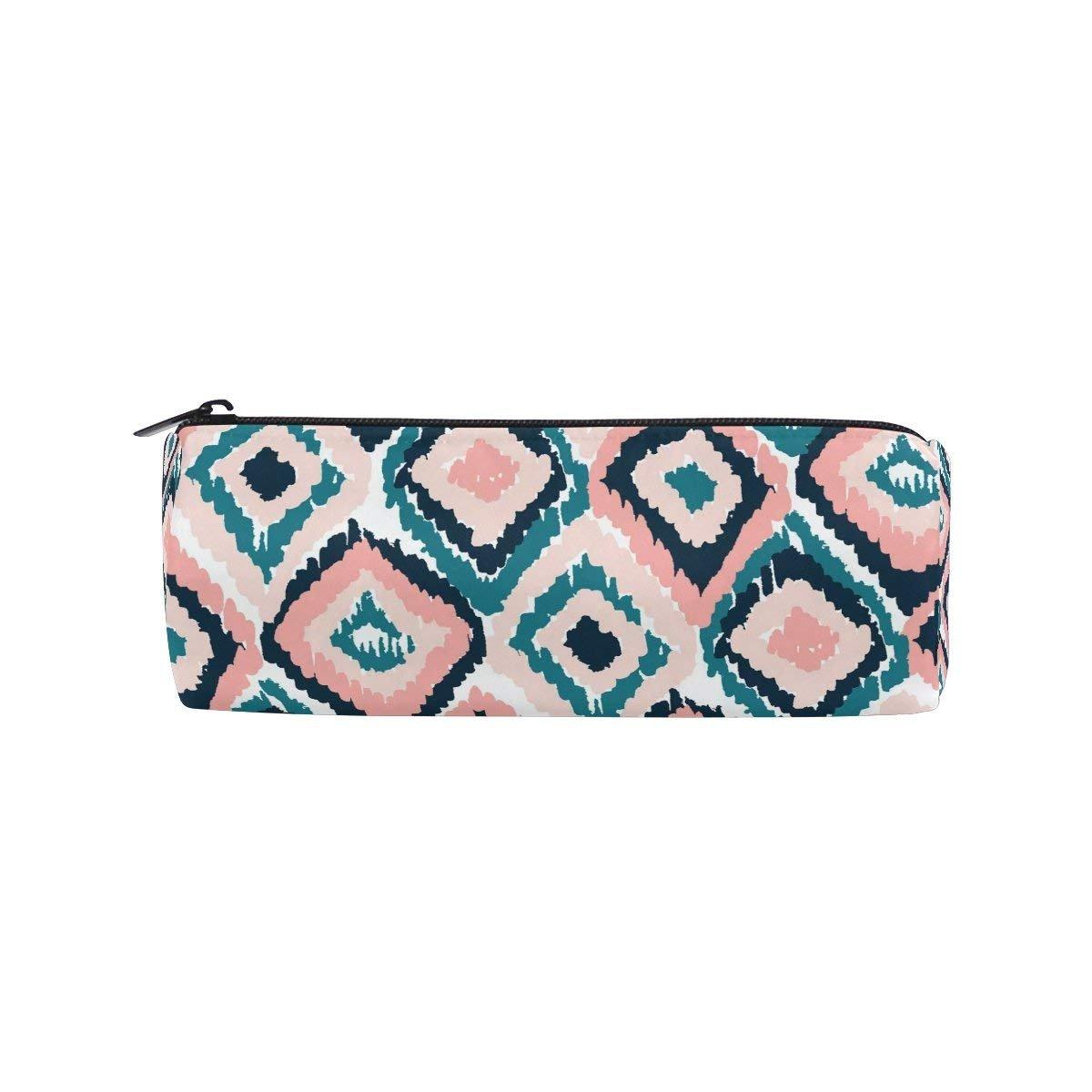 Estuche redondo con patrón de cuadrícula para lápices, bolsa de papelería, bolsa con cremallera, soporte para lápices: Amazon.es: Oficina y papelería