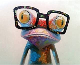 ABEUTY DIY Paint by Numbers for Adults Beginner - Frog with Glasses 16x20 inches Number Painting Anti Stress Toys (Wooden Framed)