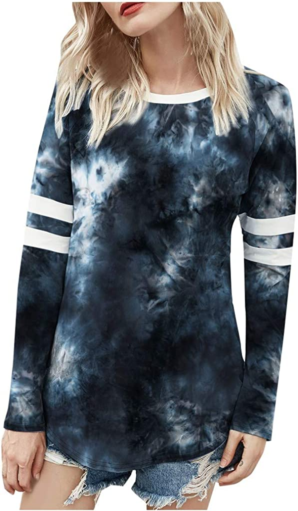 Women's Tie Dye Long Factory outlet Sleeve Casual Crewneck Tops Cheap sale Pullover Loose