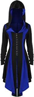 Women's Vintage Medieval Hooded Lace up Trench Coat Adult Renaissance Gothic High Low Overcoat Halloween Costume