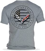 C7 Corvette Born in The USA American Legacy Men's T-Shirt/Heather Gray (X-Large)