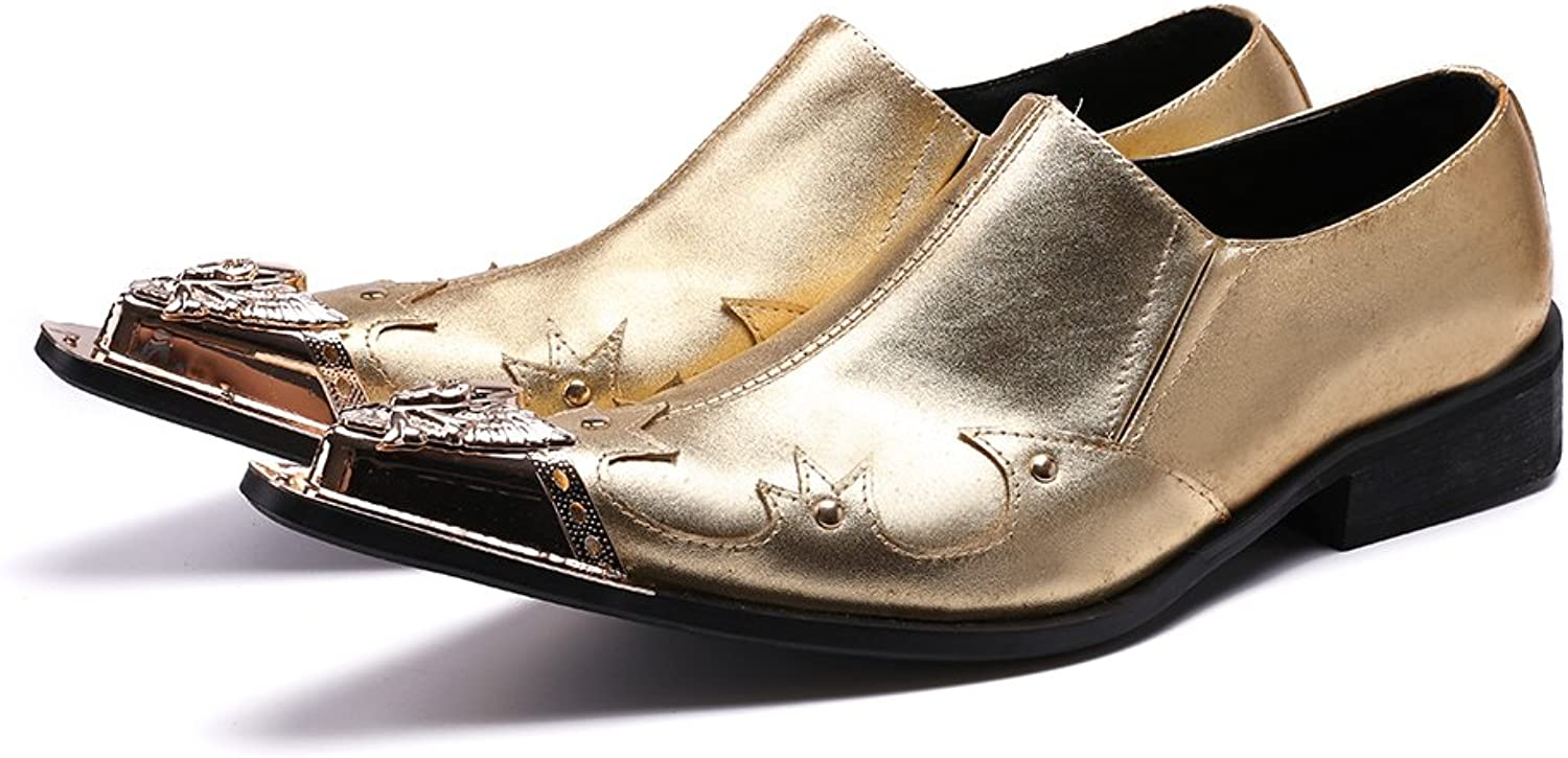 Cover Plus Mode guld Genuine läder herr herr herr Slip on Steel Pointed Toe Formal Dress Suit skor  global distribution
