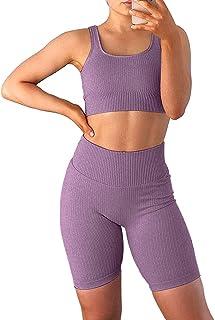 Jetjoy Biker Short Sets Women 2 Piece Outfits Ribbed Yoga Running Workout Shorts Sets Seamless