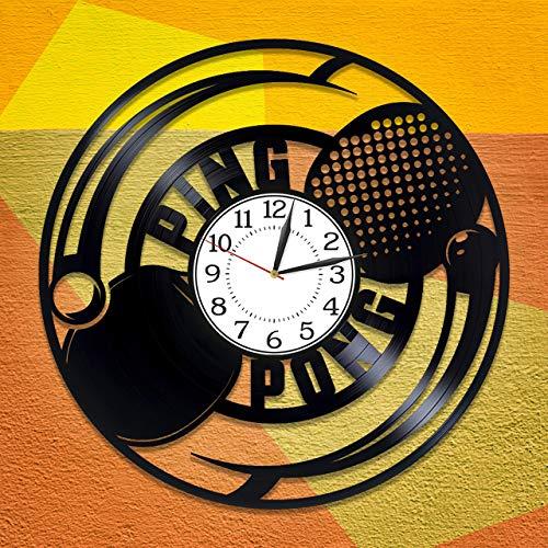 GYPPG Tenis de Mesa Idea de Regalo de cumpleaños Reloj Deportivo de Vinilo Ping-Pong Reloj Hecho a Mano para Hombre y Mujer Tenis de Mesa Decoración Original para el hogar Reloj Deportivo de vinil