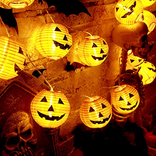 Luz de Cadena de Linterna de Halloween, Luces de Calabaza de Cara de Miedo Naranja de 10 Pies 20 LED Decoración de Jack-O-Lantern Alimentada por Pilas para Fiesta de Halloween