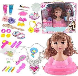 Busto muñeca peinar y maquillar con assessorios, Cabeza para Maquillar, muñecas de maquillaje para niñas, Cabello Marrón