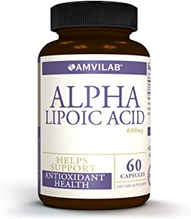 AMVILAB Alpha Lipoic Acid 600mg Supports Healthy Blood Sugar, Weight Management, Nerve Health, Improves Tingling Feet and ...