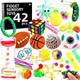 42 Pack Sensory Fidget Toys Set, Stress Relief and Anti-Anxiety Toy Bundle for Kids and Adults with Mochi Squishy, Flippy Chain, Grape Ball, Marble Mesh, Liquid Motion Timer, Squeeze Bean, 21 Kinds