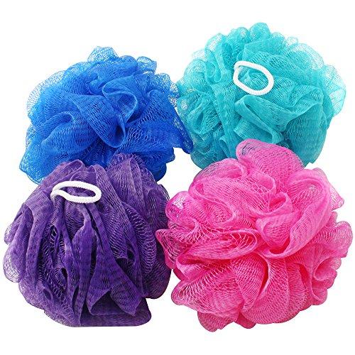 com-four® 4X Duschschwamm - Badeschwamm in tollen Farben - Waschschwamm für die Dusche - Massageschwamm - Duschknäul [Farbauswahl variiert!] (04 Stück)