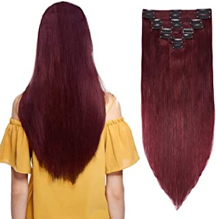 Burgundy Wine Red Clip in 100% Remy Human Hair Extensions Double Weft #99j Grade 7A Quality Full Head Thick Thickened Long Soft Silky Straight 8pcs 18clips for Women Beauty 18